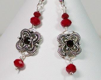 Red Victorian Style Earrings, Victorian Style Earrings, Dangle Earrings