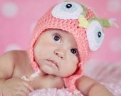 Custom Listing for Lindsey Barnes ONLY Pink owl hat and matching diaper cover