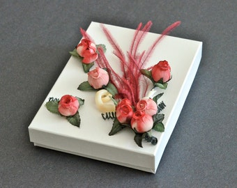 OOAK Jewelry Gift Box Coral Ostrich Feather Rose Shell