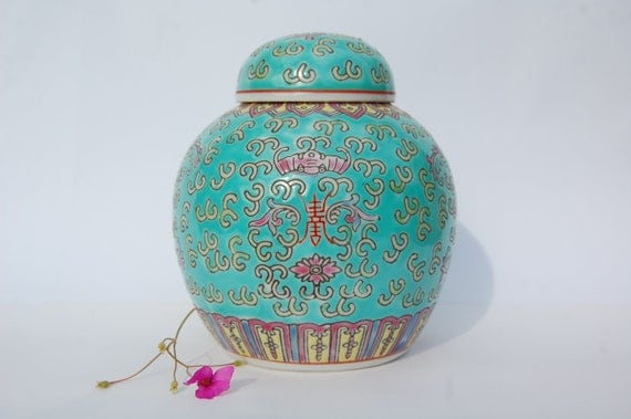 VINTAGE Chinese Ginger Jar Teal/aquamarine, Pink and Yellow, Home Ornament/Decoration