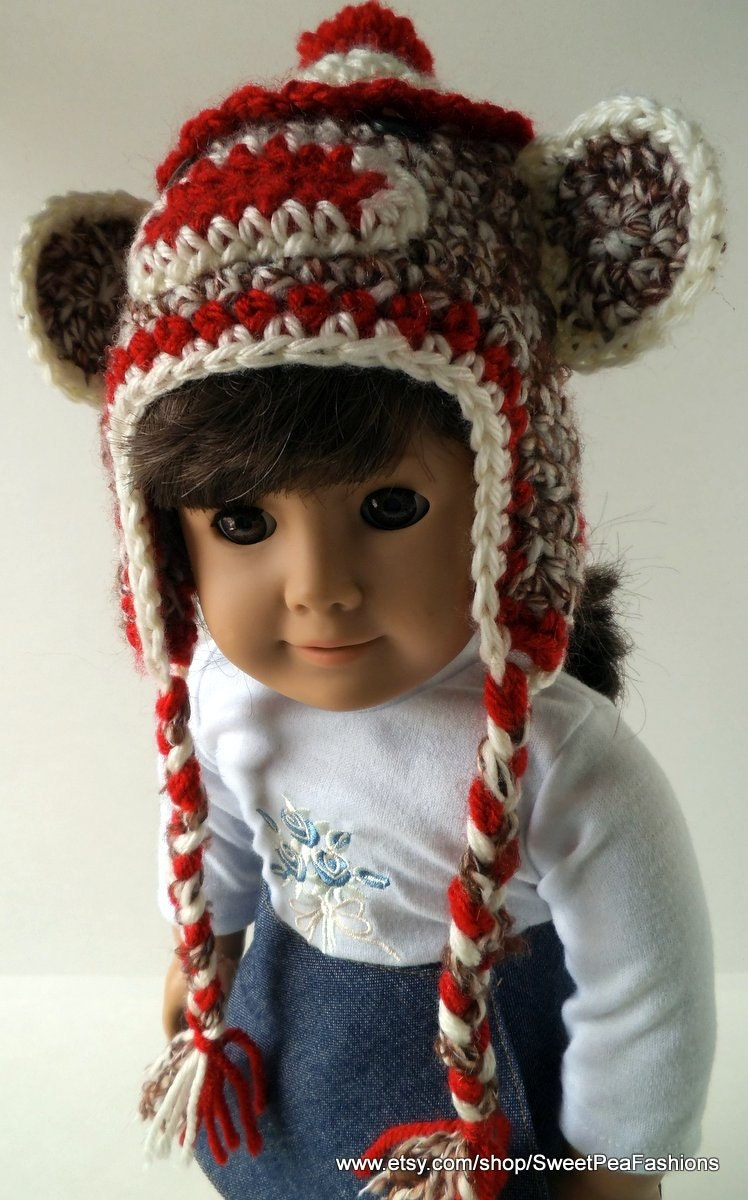 American Girl Crocheted Sock Monkey Ear Flap Hat