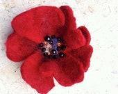 Felted Poppy Brooch