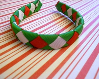 """Red, green and white Christmas woven headband for American Girl and other 18"""" dolls"""