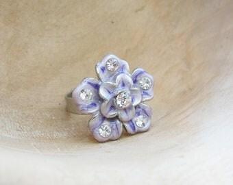 Lilac Enamel Flower Ring