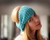 Knitted headband / Chunky knitted turban in Turquoise green Ultramarine Green europeanstreetteam