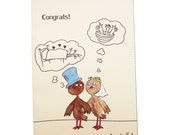 Funny Wedding Card,Hand Painted Love Birds Card,Cartoon Birds Greeting Card,Hand Painted Birds Card