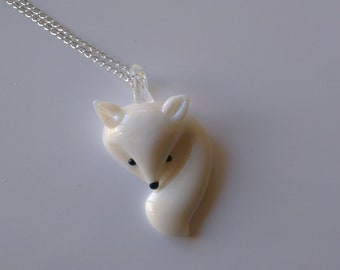 Glass Arctic Fox Necklace
