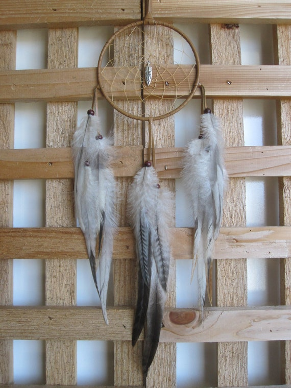 Dark Tan Deerskin Leather Dream Catcher with Variant Rooster Feathers