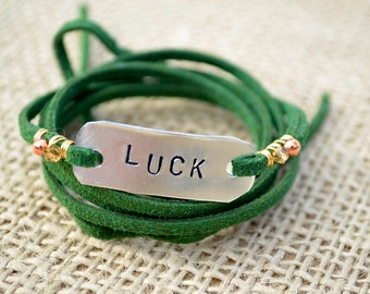 Dark green suede leather wrap bracelet - hand-stamped Luck on aluminum