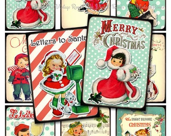 INSTANT DOWNLOAD, Digital Collage Sheet Christmas Tags, Labels, Retro Vintage Kids, Printable Graphics, atc aceo