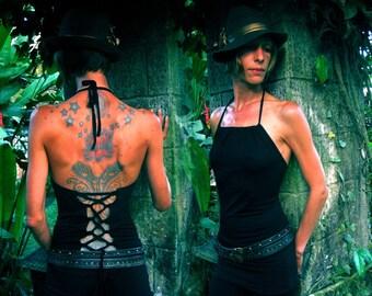 Corset  ~ Yoga top ~ Halter top ~ Black corset ~ Sati Creation