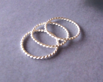 Sterling Silver Twist Rope Stacking Ring Set