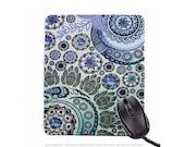 Blue Mehndi Mousepad - Indian Paisley Floral Art Mouse Pad