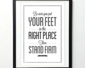 Motivational Poster, Abraham Lincoln Quote, Stand Firm, Typography Poster, Vintage Poster, Inspirational Print, Quote Prints, Giclee Print