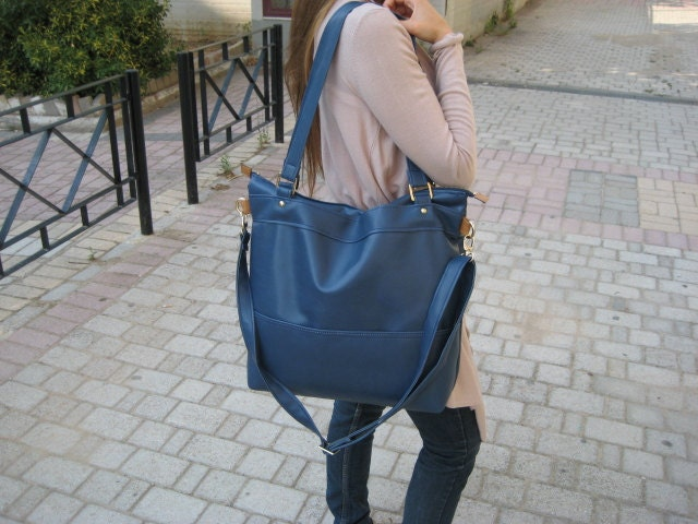 10 Sale Handmade Leather Vegan Tote Handbag In Navy Blue