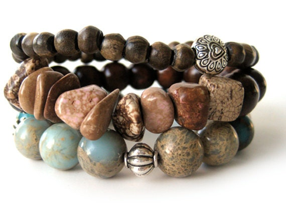Beaded stretch bracelet handmade turquoise brown fall fashion, member of The Artisan Group
