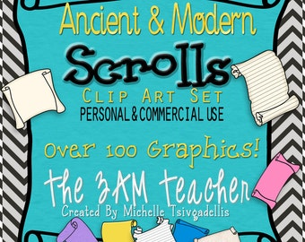 Ancient and Modern Scrolls Clip Art Collection