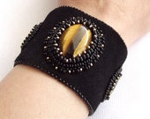 Bead embroidery cuff bracelet, black suede cuff, seed bead bracelet, gemstone jewelry, tiger eye gesmtone cuff