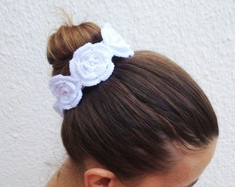 Flower Girl Wedding White crochet flowered headband with satin ribbon and bead ,wriststrap,collar,Bracelet