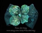 Glittered Hydrangea atop Sequin Bow on Alligator Clip- Handmade Floral Headpiece