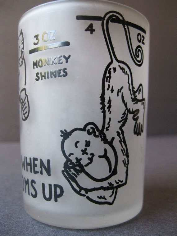 Vintage Glass Barware Hazel Atlas Monkey Shot Glass Say when bottoms up