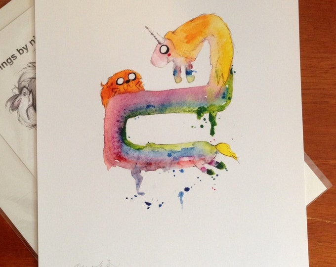 Jake and Lady Rainicorn PRINT, 8.5x11 inch inkjet print Adventure Time Fan Art