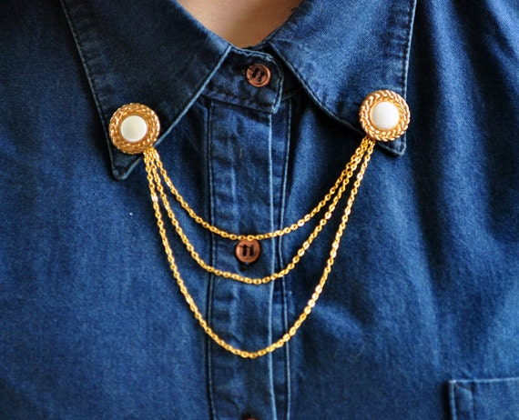Collar Brooch - Collar Tips - Pearl Golden Buttons with Chain - Fashion Accessories