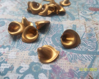 3 Vintage Brass Lily Tops Stamping