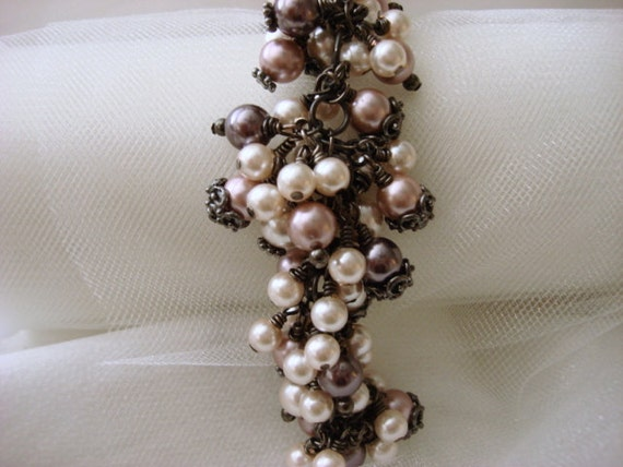Gunmetal Pearl Cluster Wrapped Bracelet