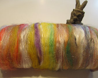 GHOSTS and GOBLINS 4.0 oz , fiber art batt for spinning, batt, spinning fiber, wool batt, textured bling batt, Angelina sparkle, art batt