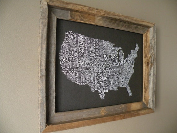 Gray American Foods Map - Unframed