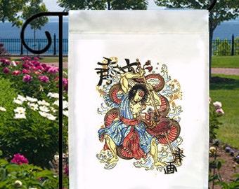 Asian Samurai Chinese Dragon New Small Garden Yard Flag, Cool Tattoo Art