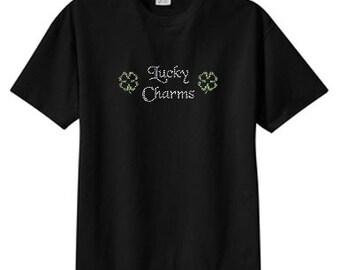 Rhinestone Lucky Charms Shamrocks New T Shirt, S M L XL 2X 3X 4X 5X, Irish, St. Paddys