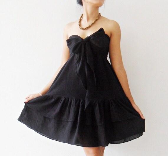 Party Princess Sweet Black  Mini Dress cotton