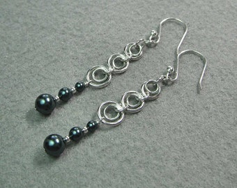 Chain Maille Earrings, Sterling Silver, Swarovski Pearl Beads