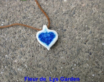 Blue Glass Heart          Aromatherapy Pendant, Mothers Day Jewelry, Heart Pendant, Recycled Glass Jewelry, Gift of Love, Feeling Blue,