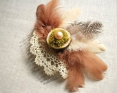 woodland fairy, bridal hair comb, bride, bridesmaid, woodland rustic wedding, photo prop, vintage inspired, brown, brown feather