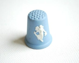 wedgwood jasper thimble, England sewing, floral girl, angel, blue white, vintage, collectibles, vintage thimble