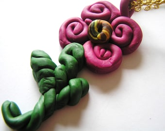 Unique Handmade Polymer Clay Purple Flower Ornament