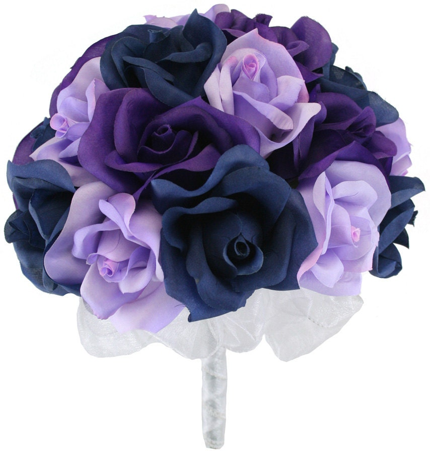 Navy Blue Lavender and Purple Silk Rose Hand Tie 2 Dozen  One