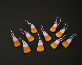 CANDY CORN Enamel Earrings with Sterling Silver