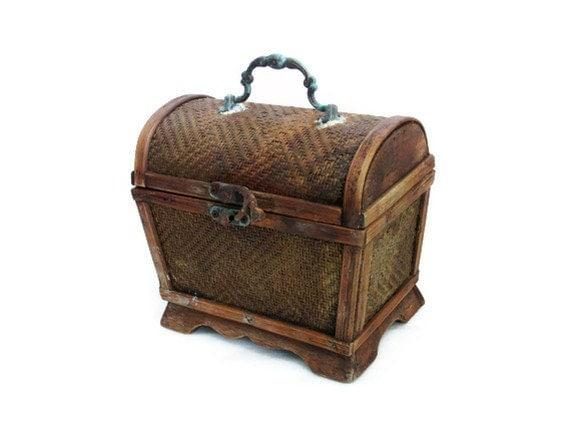 AHOY rustic pirate treasure chest WOOD & wicker Vintage keepsake, Nautical wooden box, Brass latch, metal handle, hinge