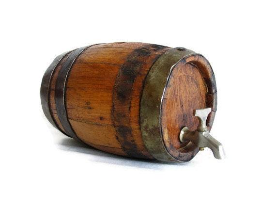 Wooden Keg With Tap Vintage Mini Wood Barrel Metal Hoops