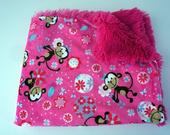 On Sale - Fuchsia Funky Monkey Minky Blanket - Fuchsia Shaggy Minky - Double-Sided Minky Baby Blanket