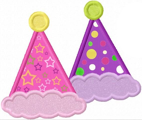 Instant Download Birthday Hat Applique Machine Embroidery Design NO:1188