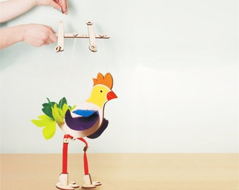 Gift Idea  for Boys and Girls, Wooden Toy, Bird Marionette, Puppet, Room Decoration,