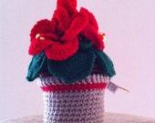 Hawaiian red hibiscus, crochet flower plant