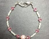 Genuine Swarovski Crystal Elements Beaded Bracelet in Pink, Custom Sized to Order as Medical ID Replacement or Standard Bracelet