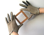 Vintage Italian   Crocheted and Kid Gloves - 1950s 50s