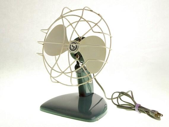 Vintage Electric Fan in Retro Blue 1950s